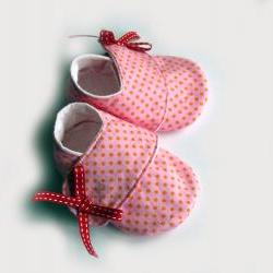 Baby girl shoes/booties, size 0-6 months, pink dot sneakers.